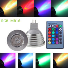 rgb led ziarovka mr16 3w 60 s infra ovladanim