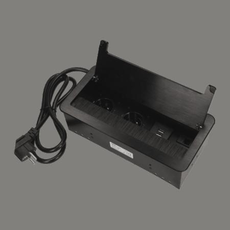 cierna vstavana zasuvka do nabytku 2x16a + usb + lan s flexo kablom
