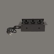 cierna vyklopna zasuvka do nabytku 3x16a s flexo kablom
