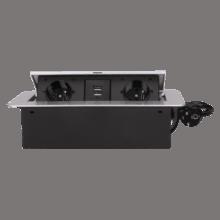 strieborna vyklopna zasuvka do nabytku 2x16a + usb s flexo kablom