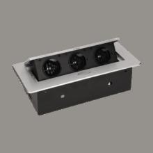 strieborna vyklopna zasuvka do nabytku 3x16a bez kabla 4