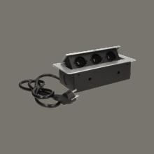 strieborna vyklopna zasuvka do nabytku 3x16a s flexo káblom