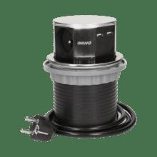 strieborna vysuvna zasuvka do nabytku 3x16a + USB s flexo káblom