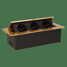 zlata vyklopna zasuvka do nabytku 3x16a bez kabla 5