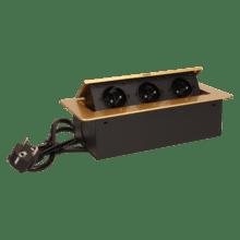 zlata vyklopna zasuvka do nabytku 3x16a s flexo kablom